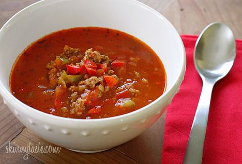 Stuffed Pepper Soup #soup #stuffedpepper #rice #groundbeef