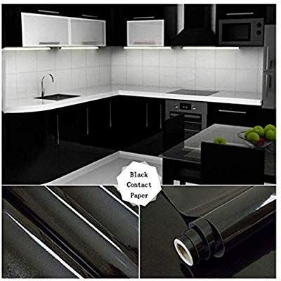 17 71 Quot X 79 Quot Black Contact Paper Waterproof High Gloss Vinyl Self Adhesive Film For Kitchen Cabinets Decor Kitchen Wall Stickers Furniture Renovation
