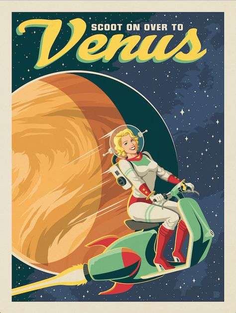 Anderson design group space travel venus space scooter voyager from the historic robotic spacecraft series Retro Kunst, Retro Art, Arte Sci Fi, Sci Fi Art, Space Tourism, Space Travel, Science Fiction Kunst, Aesthetic Space, Retro Aesthetic