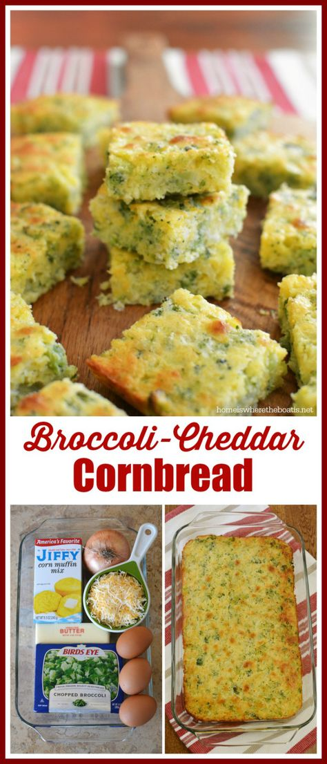Broccoli-Cheddar Cornbread, an easy recipe and ideal for serving with chili and chilly weather! | homeiswheretheboatis.net