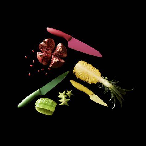 Assortiment De Couteaux Ananas Grenade Carambole Rose