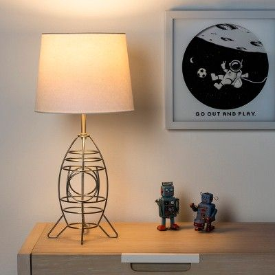 Space Ship Wire Table Lamp Includes Led Light Bulb Silver Pillowfort Table Lamp Wire Table Table Lamp Design