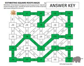 Estimating Square Roots Maze Activity Estimating Square Roots Square Roots Square Roots Activity