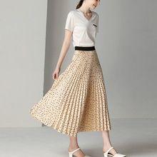 410b159959 Women's Skirt Spring and Summer Pleated Skirt Black Apricot Dot Print Long  Skirt Women's Clothing Pleated