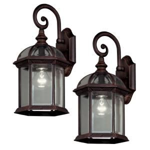 Hampton Bay, Twin Pack 1-Light Weathered Bronze Outdoor Lantern, 7072-2RT at The Home Depot - Mobile