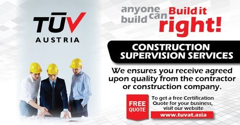 Construction Supervision Services: We ensures you receive agreed upon quality from the contractor or construction company. For free queries visit : http://tuvat.asia/get-a-quote or call Pakistan: +92 (42) 111-284-284 | Bangladesh +88 (02) 8836404 | Sri Lanka +94 (11) 2301056 ‪#‎ISO‬ ‪#‎TUV‬ ‪#‎certification‬ ‪#‎inspection‬ ‪#‎pakistan‬ ‪#‎Srilanka‬ ‪#‎iso9001‬ ‪#‎bangladesh‬ #srilanka ‪#‎lahore‬ ‪#‎karachi‬ ‪#‎colombo‬ ‪#‎dhaka‬
