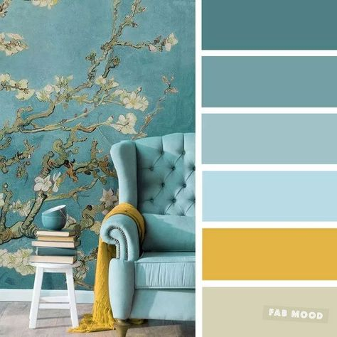 The best living room color schemes - Blue, Turquoise & Mustard - Fabmood