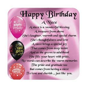 Niece Poem Happy Birthday Coaster Zazzlecom Targetas