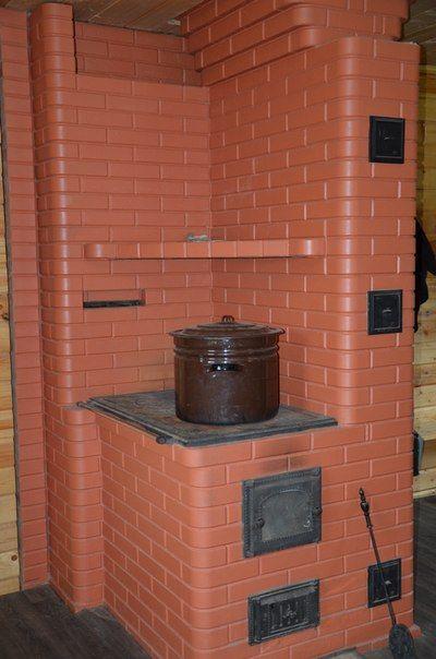 Печка из кирпича в доме 180