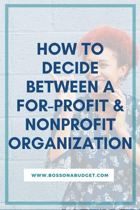 For profit vs nonprofit organization