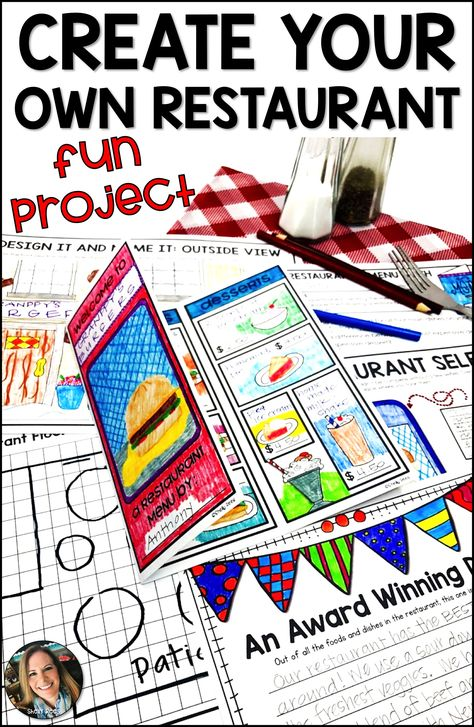 Restaurant Menu Project Based Learning PBL When students design and create their own restaurants, th First Grade Projects, Kindergarten Projects, Kindergarten Lesson Plans, Math Projects, School Projects, Book Projects, Problem Based Learning, Project Based Learning, Kids Learning