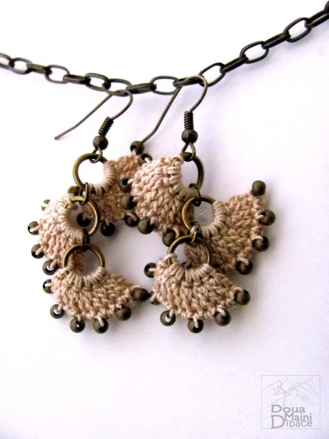 Handmade cream brown beige natural cotton crochet earrings rustic antique brass shabby chic whimsy jewelry bohemian sand earth romantic