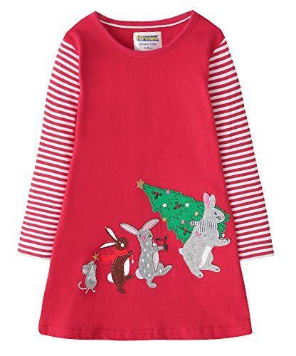 Baby Girls Autumn Long Sleeve Dress Animal Applique Toddler Girl Cotton Clothes