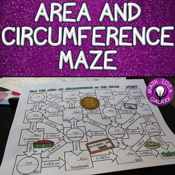Area And Circumference Activity Maze Circumference Activities