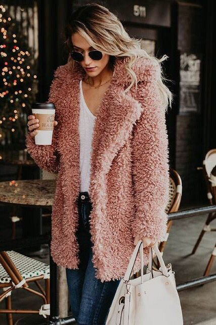 Pink Teddy Bear Coat Jackets Outfits Winter
