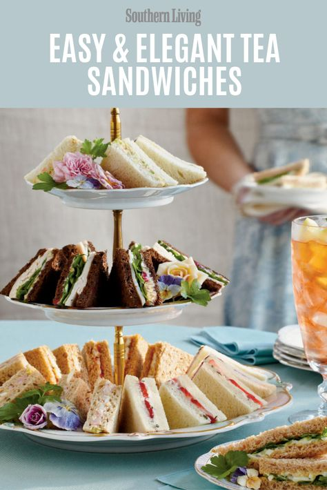 The tea sandwich is a quintissential finger food for luncheons and parties. Try these charming and delicious treats for your next get together. Mozzarella Sandwich, Salami Sandwich, Tea Party Sandwiches Recipes, Easy Finger Sandwiches, Baby Shower Sandwiches, Tea Party Recipes, Tea Party Birthday, Diy Birthday, Afternoon Tea Parties