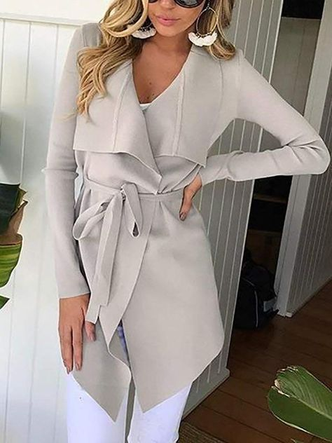 Product Name Fashion Lapel Long Sleeve Belt Asymmetrical Hem Coat Brand Name Missiapick SKU Material polyester Pattern Type plain Occasion basic,casual Season autumn Package Included