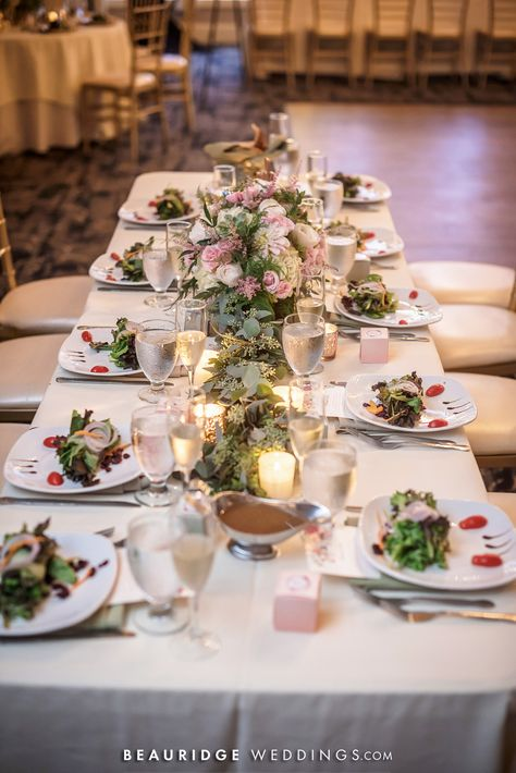 #weddingcenterpiece #longtables #weddingdecor #floristideas #plateddinner #salad #weddingsalad #summerwedding #springwedding #blush #ivory #weddingcolors #springweddingcolors #greenery #eucalyptus #longtablecenterpiece #garland #saladcourse #tablescape #centerpieceideas #weddingdecorideas #weddingtheme #rusticwedding #rusticdecor #chiavarichairs #weddingvenue #njvenue #receptionvenue #ballroom #njweddingvenue #golfcoursewedding #ronjaworskiwedding #blueheronweddings #coastalwedding