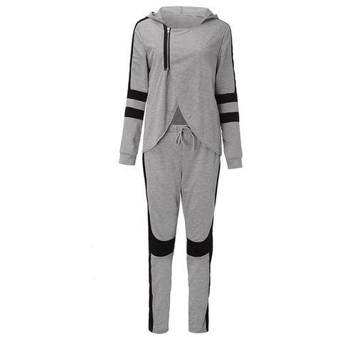 53c325e4 Women Tracksuit Set Split Zipper Pullovers Sweatshirt +Pant Two Piece... (€