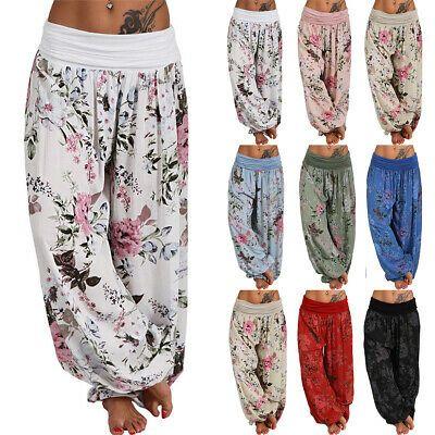 Women Loose Palazzo Elastic Wide Leg Harem Pants Boho Floral Gypsy Yoga Trousers