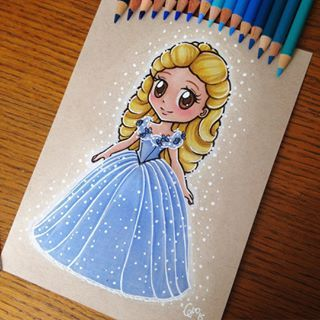 Chibi Cinderella 2015 Done With Faber Castell Polychromos Colored Pencils On A Toned Textured Kraf Disney Art Disney Princess Art Disney Princess Drawings