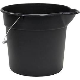 United Solutions Pa0168 Black 3 Gallon Plastic Utility Pail With Handle And Pouring Spout 12 Quart Case Of 12 Spout Pail Trash Can