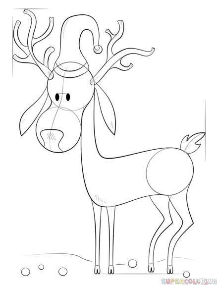 How To Draw A Cartoon Christmas Reindeer Step By Step Drawing Tutorials Reindeer Drawing Drawing Tutorial Holiday Art Projects