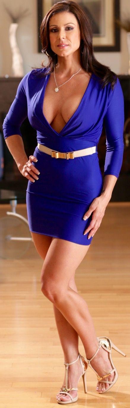 Blue tight dress milf