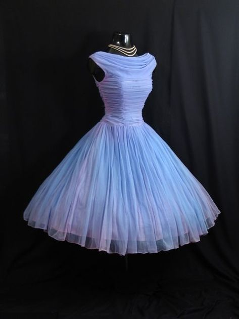Vintage 1950s Short Tulle Dress with Boat Neckline and A-line Bodice - Homecoming Dress, Prom Dress, Evening Dress