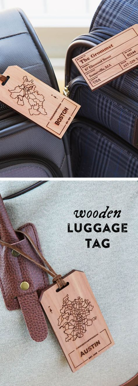 Solid Oak laser engraved luggage tag Monogram luggage tag Active personalized Custom luggage tag Luggage Tag Wood luggage tag
