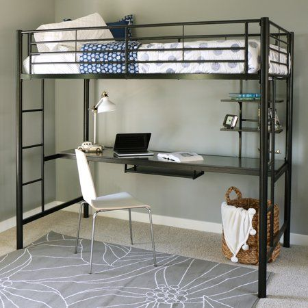 Manor Park Metal Twin Loft Bed With Workstation Black Walmart Com In 2021 Bunk Beds With Stairs Twin Loft Bed Metal Bunk Beds