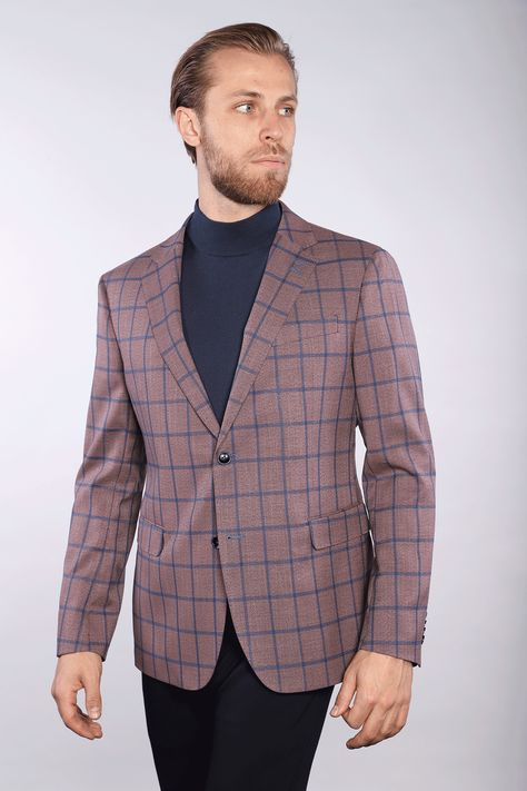 This beautiful plum sport jacket with a royal blue windowpane check brings about an unmatched elegance that will have people staring in awe from the office all the way to the dance floor. split Half-lining. Flap pockets. Inside zippered pockets for maximum security. 90% rolyester, 9% rayon, 1% elastane. Made in China.