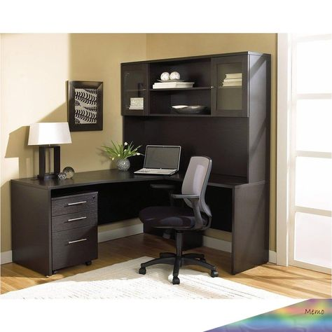 Apr 13 2020 This Setup Is Perfect For Any Office Setting With An L Shaped Crescent Desk An Enclo In 2020 Modern L Shaped Desk L Shaped Desk Cheap Office Furniture