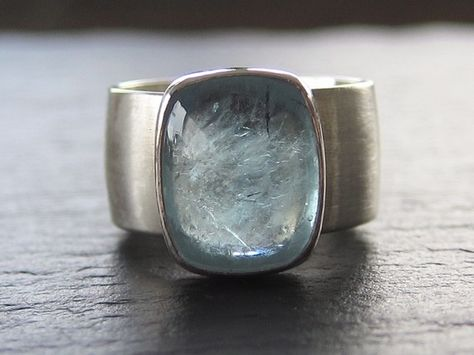 Aquamarine Ring on recycled sterling wide band