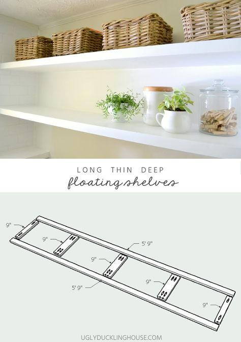 FINALLY! These shelves don't have the bulk of chunky floating shelves and still have support. Long deep thin sturdy floating shelves with free DIY plans #shelves #shelf #laundryroom #storage #mudroom #floatingshelves #diy #woodworking