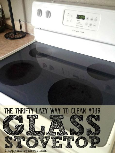 How to clean that pesky burnt on food from your glass stovetop. The lazy woman's way! - sprinkle with baking soda, spray with vinegar, let it bubble, wipe.  Use a razor afterward if needed.