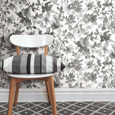 Roommates 28 2 Watercolor Floral P S Wallpaper Black Adult