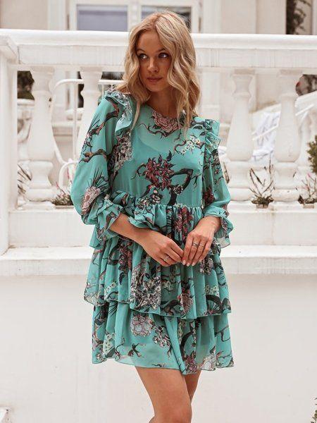 Szyfonowa Sukienka Z Dlugim Rekawem Z Falbankami Zielona W Kwiaty Fashion Casual Dress Dresses