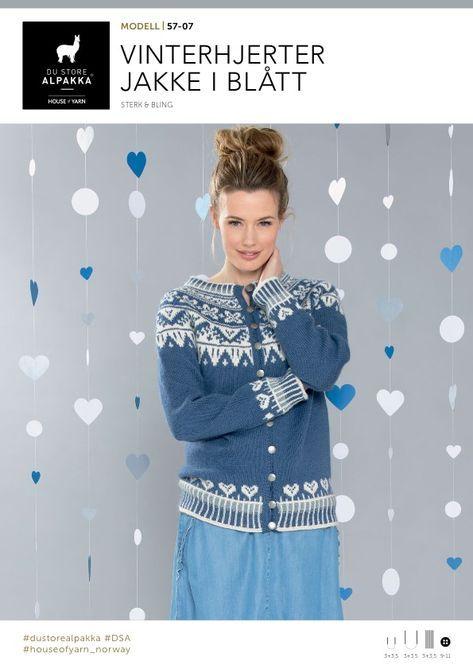 DSA57 07 Vinterhjerter jakke i blått | Du Store Alpakka