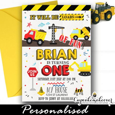 Prep your guests for a construction birthday party with loads of fun with these Construction Birthday Invitations! #CustomInvitations #PersonalizedInvitations #partyideas  #birthdayinvitation #birthday #party #invitation #cool #invitations #kidsbirthdayparty #constructionparty #constructionpartyideas #constructiontheme #constructionbirthday