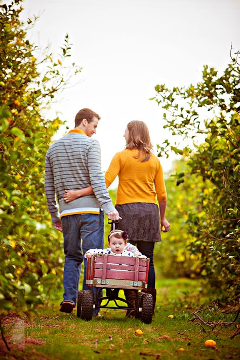 Great idea for a new family photo shoot! Love the red wagon!!