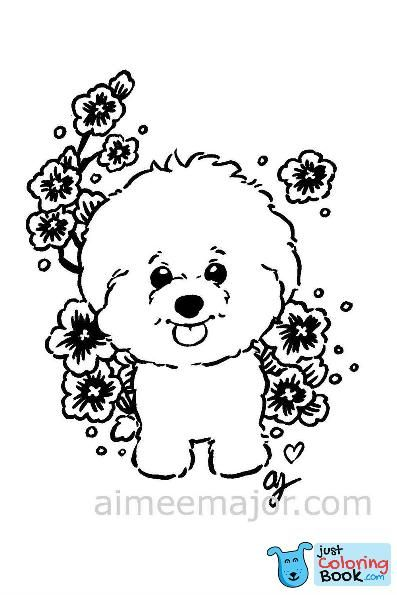 Cute Bichon Frise Dog Puppy Coloring Page With Regard To Free Printable Bichon Frise Coloring Pages