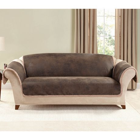 Fantastic Surefit Sure Fit Vintage Leather Sofa Furniture Cover Brown Bralicious Painted Fabric Chair Ideas Braliciousco