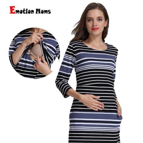 c8d436c515e6 Emotion Moms Cotton Striped Summer Spring Skirt Pregnancy Nursing Dress for  pregnant Woman Maternity Dress Breastfeeding Dress