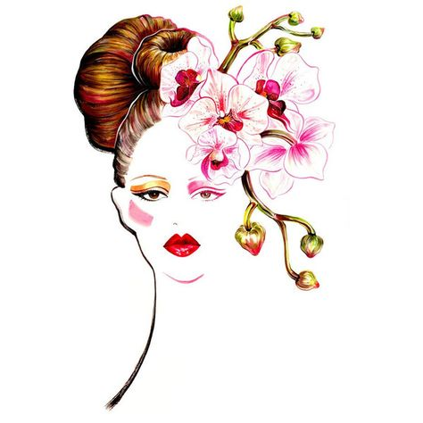"Watercolour Fashion Illustration 13""x16"" print - Orchid Girl (420 NOK) ❤ liked on Polyvore featuring home, home decor, wall art, sketches, art, illustrations, backgrounds, fillers, watercolor painting and inspirational signs"