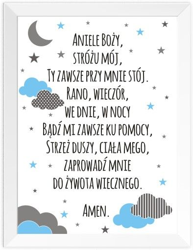 A3 Plakat Modlitwa Ramka A3 Aniele Bozy Chrzest Home Decor Decals Words Word Search Puzzle