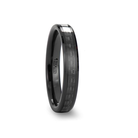 Thorsten NOVA Black Ceramic Wedding Band with Beveled Edges Ring and Red Opal Inlay 4mm Wide from Roy Rose Jewelry