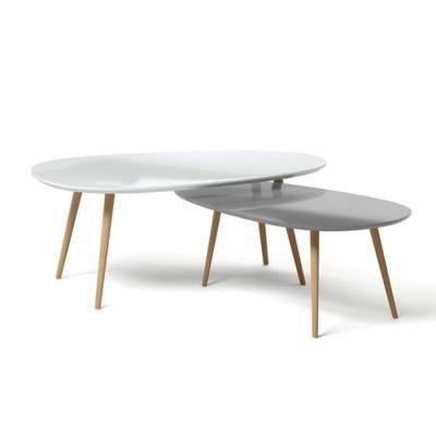 Kivi Lot De 2 Tables Basses Gigognes Scandinave Blanc Laque Et