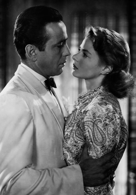 """""""Of all the gin joints in all the towns in all the world, she walks into mine."""" Casablanca, premiered 1942, released 1943. Humphrey Bogart, Ingrid Bergman."""
