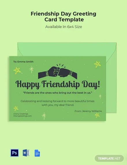 Free Friendship Day Greeting Card Template In 2020 Greeting Card Template Friendship Day Greetings Card Template